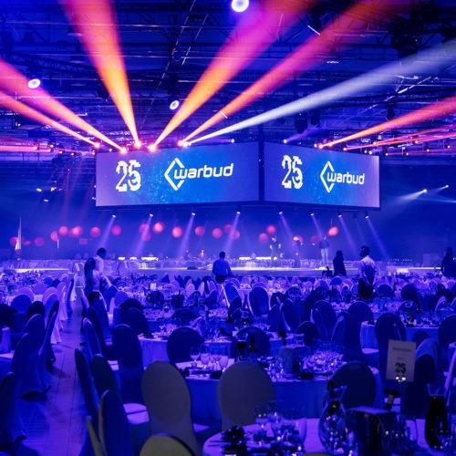Uroczysta gala na 25-lecie firmy Warbud - oprawa świetlna